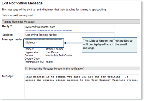 Subject line is included as the title of the email notification.